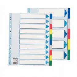 Separatore - 10 tasti colorati - PP - A4 maxi - 24,5x29,7 cm - multicolore - Esselte