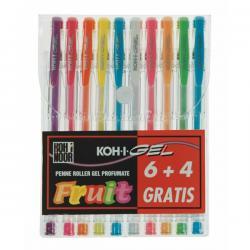 Roller gel colorati - colori fruit - Koh I Noor - astuccio 10 roller