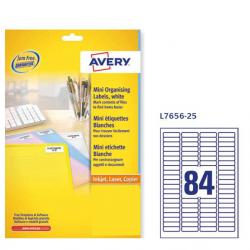 Etichette adesive L7656 - bianche - A4 - 46 x 11,1mm (80et/fg) - inkjet/laser - Avery - conf. 25fg