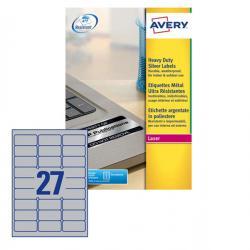 Etichetta in poliestere L6011 - adatta a stampanti laser - permanente - 63,5x29,6 mm - 27 etichette per foglio - argento - Avery