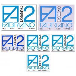 Blocco F2 - 330x480mm - 12fg - 110gr - ruvido - collato - Fabriano