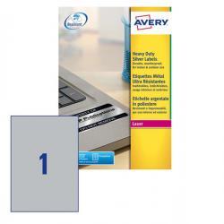 Etichetta in poliestere L6013 - adatta a stampanti laser - permanente - 210x297 mm - 1 etichetta per foglio - argento - Avery -