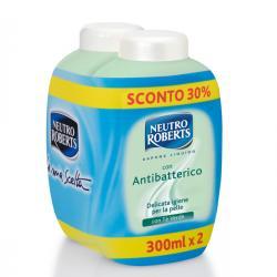 Ricarica di sapone liquido - antibatterico - Neutro Roberts - 2x300 ml