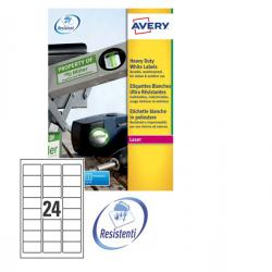 Etichetta in poliestere L4773 - adatta a stampanti laser - permanente - 63,5x33,9 mm - 24 etichette per foglio - bianco - Avery