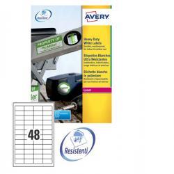 Etichetta in poliestere L4778 - adatta a stampanti laser - permanente - 45,7x21,2 mm - 48 etichette per foglio - bianco - Avery