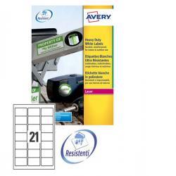 Etichetta in poliestere L7060 - adatta a stampanti laser - permanente - 63,5x38,1 mm - 21 etichette per foglio - bianco - Avery