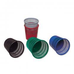 Cestino gettacarte - altrezza 31,5 cm - diametro 30 cm - traforato - 15 lt - nero - Presbitero