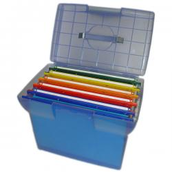 Valigetta Arianna - blu traslucido - con 5 cartelle sospese Joker interasse 33 cm - 37x25x30 cm - colori assortiti - Bertesi
