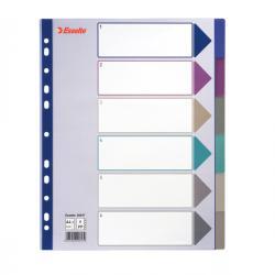 Separatore - 6 tasti - PP traslucido - A4 maxi - 24,5x29,7 cm - multicolore - Esselte