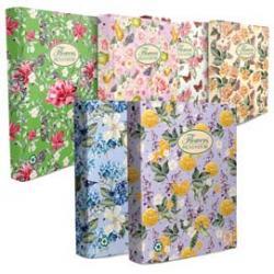 Raccoglitore Nature Flowers - A4 - 27x32cm - 4anelli - dorso 4cm - Pigna