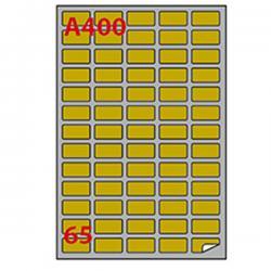 Etichetta adesiva A400 Markin - oro - adatta a stampanti laser - 38.1x21.2 mm - 65 etichette per foglio - scatola da 100 fogli A