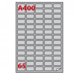 Etichetta adesiva A400 Markin - argento - adatta a stampanti laser - 38.1x21.2 mm - 65 etichette per foglio - scatola da 100 fog