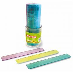 Barattolo 30 righelli - 17cm - colori trasparenti assortiti - Arda