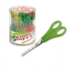 Forbici Snippy centimetrate - punta tonda - impugnatura plastica - lama in acciaio inox - 13,5 cm - colori assortiti - Lebez - c
