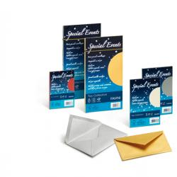 Busta Special Events metal - azzurro - 110 x 220mm - 120gr - Favini - conf. 10 buste