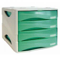Cassettiera Smile - 29x38x25,5 cm - 4 cassetti da 5 cm - grigio/verde trasparente - Arda