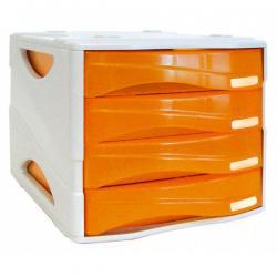 Cassettiera Smile - 29x38x25,5 cm - 4 cassetti da 5 cm - grigio/arancio trasparente - Arda