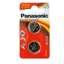 Blister 2 micropile CR2016 - 3V - a pastiglia - litio - Panasonic