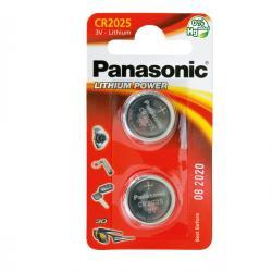 Blister 2 micropile CR2025 - 3V - a pastiglia - litio - Panasonic
