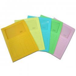 Cartelline a L con finestra Sintex - cartoncino 120 gr - 22x31 cm - mix 5 colori - Blasetti - conf. 20 pezzi