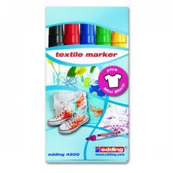 Marcatore 4600 - 5 colori assortiti - punta conica 1,0mm - per tessuto - Edding - astuccio da 5 marcatori