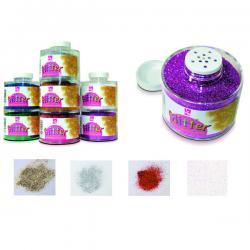 Barattolo Glitter 130/100 - grana fine - 150ml - bianco/iride - CWR