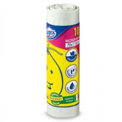 Sacchi per immondizia - 70x110 cm - 120 lt - 16 micron - bianco - Logex Professional - rotolo da 10 sacchetti
