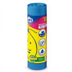 Sacchi per immondizia - 70x110 cm - 120 lt - 16 micron - azzurro - Logex Professional - rotolo da 10 sacchetti