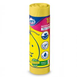 Sacchi per immondizia - 70x110 cm - 120 lt - 16 micron - giallo - Logex Professional - rotolo da 10 sacchetti