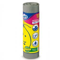 Sacchi per immondizia - 70x110 cm - 120 lt - 16 micron - grigio - Logex Professional - rotolo da 10 sacchetti