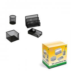Set scrivania da 4 accessori - rete metallica - nero - Lebez