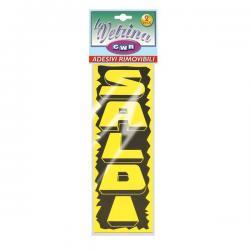 Striscione adesivo SALDI - 16x47 cm (verticale) - trasparente - CWR - conf. 2 pezzi