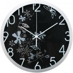 Orologio da parete Flowers - diametro 30,5cm - nero - Methodo