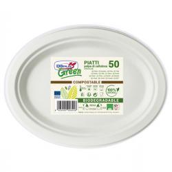 Piatti ovali - 26x19.5 cm - biodegradabili - DOpla Green - conf. 50 pezzi