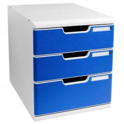 Cassettiera Modulo A4 - 35x28,8x32 cm - 3 cassetti - grigio/blu - Multiform