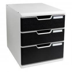 Cassettiera Modulo A4 - 3 cassetti - grigio/nero - Multiform