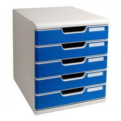 Cassettiera Modulo A4 - 35x28,8x32 cm - 5 cassetti - grigio/blu - Multiform