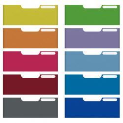 Set 10 frontalini colorati Modulo A4 - per cassetti 11cm - Multiform