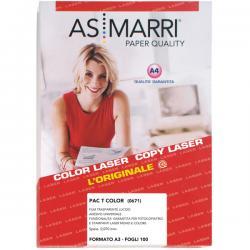 Adesivo poliestere - stampa laser - A3 - trasparente permanente lucido - As Marri conf. 100fg