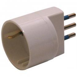 Adattatore semplice con spina 2P+T 10A - presa Schuko 10A - MKC