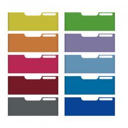 Set 10 frontalini colorati Modulo A4 - per cassetti 8,2cm - Multiform
