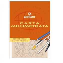 Blocco carta opaca millimetrata - 210x297mm - 10fg - 80gr - Canson