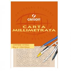 Blocco carta opaca millimetrata - 230x330mm - 10fg - 80gr - Canson