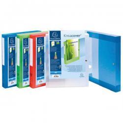 Cartella personalizzabile con bottone Kreacover® - PPL - 24x32 cm - dorso 4 cm - colori assortiti - Exacompta