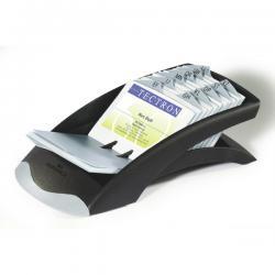 Portabiglietti da visita Visifix® Desk Vegas - 100 buste - separatore A/Z - 13,1x6,7x24,5 cm - grigio - Durable