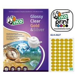 Etichetta adesiva GL4 - ovale - permanente - 36x27 mm - 50 etichette per foglio - satinata oro - Tico - conf. 100 fogli A4