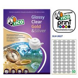 Etichetta adesiva SL4 - ovale - permanente - 36x27 mm - 50 etichette per foglio - satinata argento - Tico - conf. 100 fogli A4