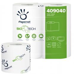 Carta igienica standard Bio Tech - 2 veli - 250 strappi - 27.5 m - Papernet - pacco 4 rotoli
