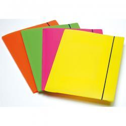 Cartellina 3 lembi Shocking File - con elastico - 25,5x35,5 cm - colori fluo assortiti - Fellowes