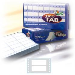 Etichette a modulo continuo Tico TAB 1 - 72x23,5 mm - corsia singola - permanente - bianco - Tico - scatola da 6000 etichette